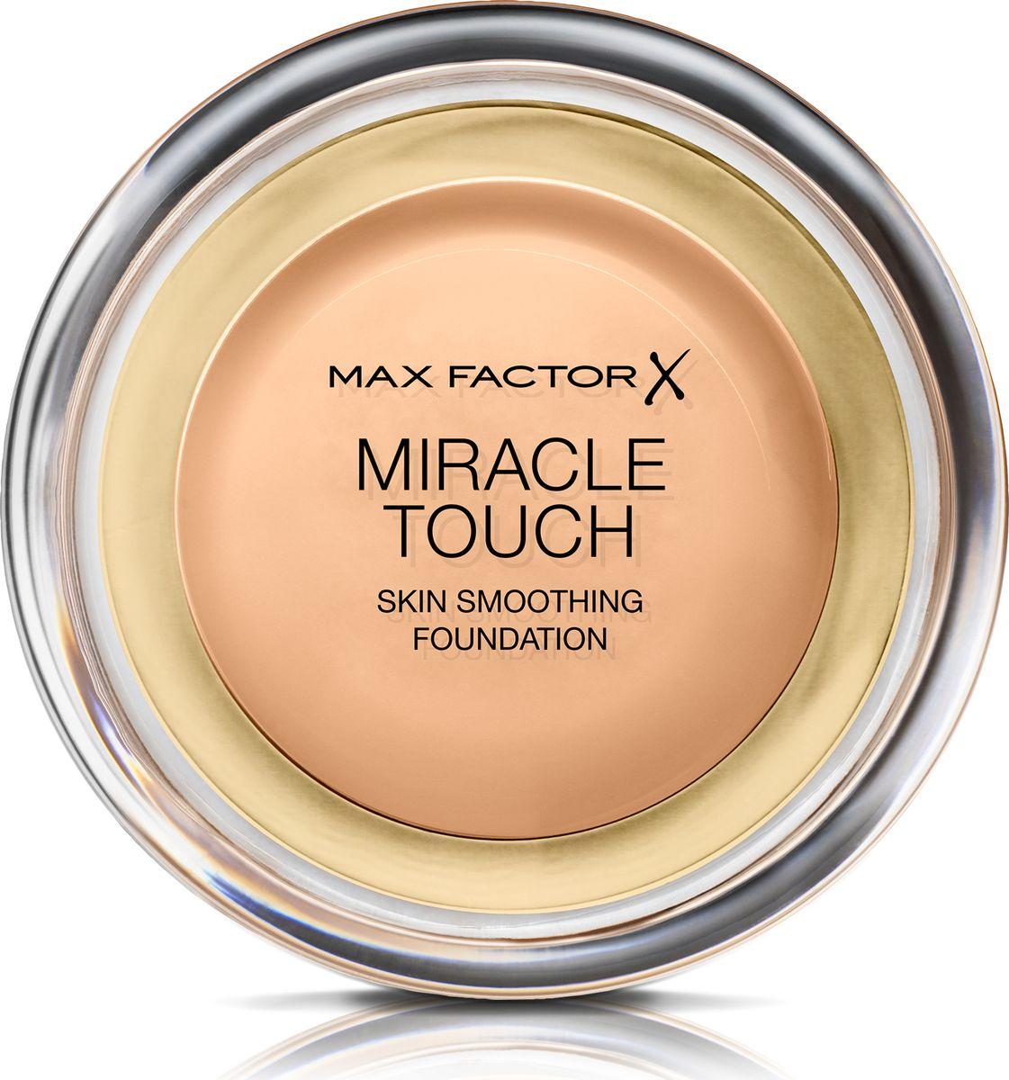 Max Factor Тональная Основа Miracle Touch Тон 75 golden 11,5 гр81063Уникальная универсальная тональная основа Max Factor Miracle Touch обладает кремообразной формулой, благодаря которой превосходно подготовить кожу для макияжа очень легко. Всего один слой без необходимости нанесения консилера или пудры. Формула Легкая твердая тональная основа тает в руках и гладко наносится на кожу, создавая идеальное, безупречно блестящее и равномерное покрытие, не слишком прозрачное и не слишком плотное. В результате кожа выглядит свежей, необычайно ровной и приобретает сияние. Чтобы создать безупречное покрытие, можно нанести всего один легкий слой тональной основы или же сделать покрытие более плотным благодаря специальной формуле. Тональная основа подходит для всех типов кожи, включая чувствительную кожу, и не вызывает угревой сыпи, так как не закупоривает поры. Спонж в комплекте для простого и аккуратного нанесения где угодно.