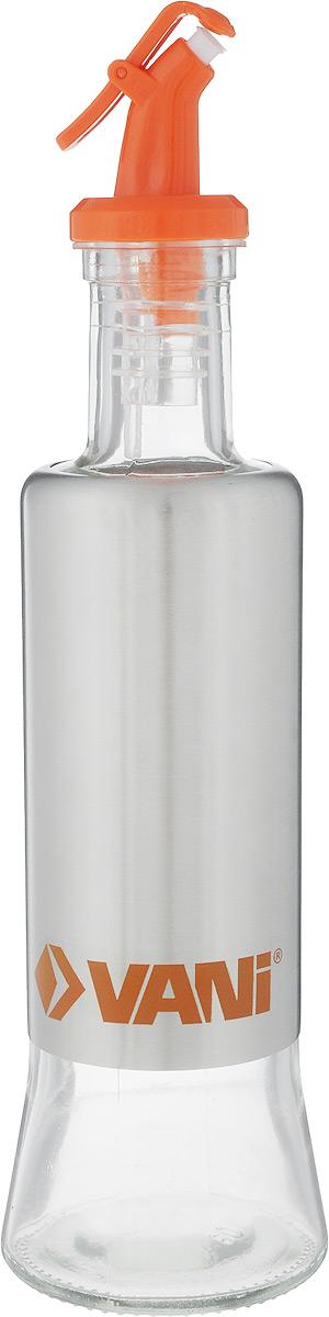 Емкость для масла VANI, с дозатором, 320 млV9203Емкость для масла VANI, изготовленная из стекла с обрамлением из нержавеющей стали, будет полезна для каждой хозяйки. Она легка в использовании. Крышка плотно прилегает к емкости и не позволит жидкости вытечь. Удобный дозатор поможет аккуратно перелить масло или любую другую жидкость из емкости. Диаметр основания: 6,5 см. Высота емкости: 25 см.