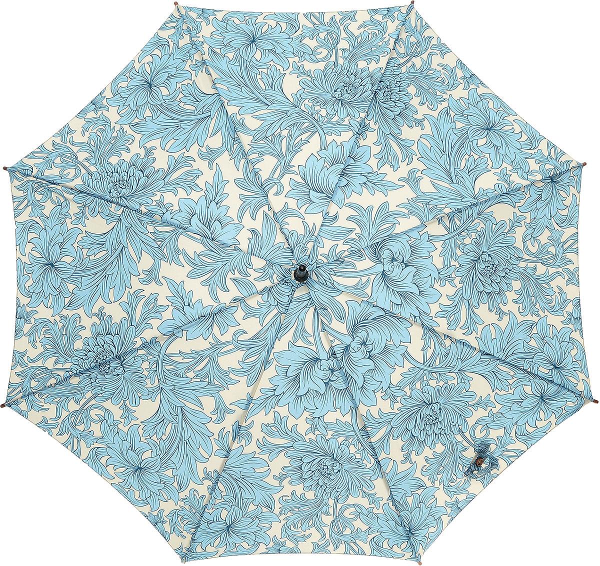 Зонт-трость женский Morris & Co Roma, механический, цвет: голубой, светло-серый. L715-2335L715-2335 ChrysanthemumМодный механический зонт-трость в итальянском стиле Morris & Co Roma даже в ненастную погоду позволит вам оставаться стильной и элегантной. Каркас зонта включает 8 спиц из фибергласса с деревянным наконечниками. Стержень изготовлен из дерева. Купол зонта выполнен из износостойкого полиэстера и оформлен оригинальным цветочным принтом. Изделие дополнено удобной рукояткой из гладкого дерева. Зонт механического сложения: купол открывается и закрывается вручную до характерного щелчка. Модель дополнительно застегивается с помощью двух хлястиков: на кнопку и липучку с декоративной пуговицей. Такой зонт не только надежно защитит вас от дождя, но и станет стильным аксессуаром, который идеально подчеркнет ваш неповторимый образ.