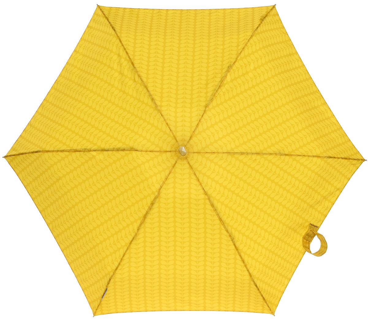 Зонт женский Orla Kiely Tiny, механический, 5 сложений, цвет: горчичный. L744-2286L744-2286 Bi-ColourStemOchreСтильный механический зонт Orla Kiely Tiny в 5 сложений даже в ненастную погоду позволит вам оставаться элегантной. Облегченный каркас зонта выполнен из 6 спиц из фибергласса и алюминия, стержень также изготовлен из алюминия, удобная рукоятка - из дерева. Купол зонта выполнен из прочного полиэстера. В закрытом виде застегивается хлястиком на липучке. Яркий оригинальный рисунок в виде листиков поднимет настроение в дождливый день. Зонт механического сложения: купол открывается и закрывается вручную до характерного щелчка. На рукоятке для удобства есть небольшой шнурок, позволяющий надеть зонт на руку тогда, когда это будет необходимо. К зонту прилагается чехол с небольшой нашивкой с названием бренда.