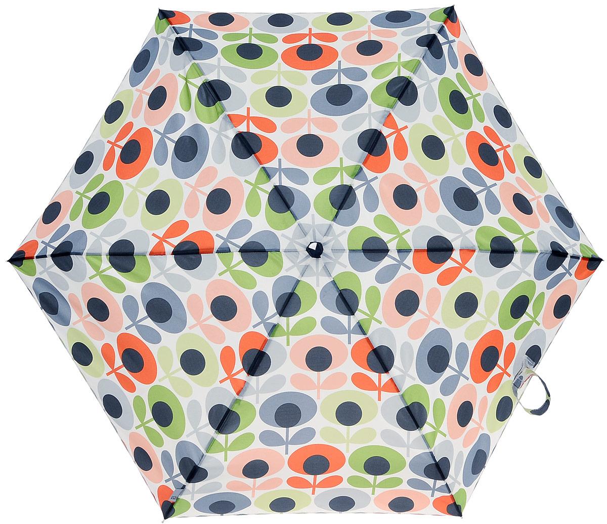 Зонт женский Orla Kiely Tiny, механический, 5 сложений, цвет: мультиколор. L744-3202L744-3202 MultiFlowerOvalСтильный механический зонт Orla Kiely Tiny в 5 сложений даже в ненастную погоду позволит вам оставаться элегантной. Облегченный каркас зонта выполнен из 6 спиц из фибергласса и алюминия, стержень также изготовлен из алюминия, удобная рукоятка - из дерева. Купол зонта выполнен из прочного полиэстера и оформлен оригинальным красочным принтом. В закрытом виде застегивается хлястиком на липучку. Зонт механического сложения: купол открывается и закрывается вручную до характерного щелчка. На рукоятке для удобства есть небольшой шнурок, позволяющий при необходимости надеть зонт на руку. К зонту прилагается чехол, оформленный нашивкой с названием бренда. Такой зонт компактно располагается в кармане, сумочке, дверке автомобиля.
