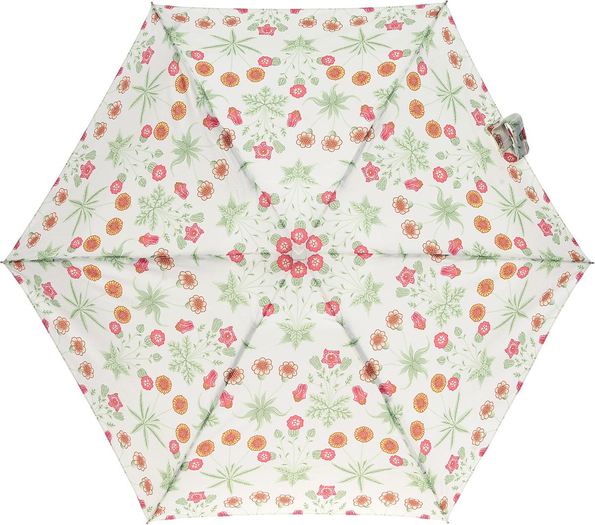 Зонт женский Morris & Co Tiny, механический, 5 сложений, цвет: белый, мультиколор. L713-2794L713-2794 DaisyСтильный механический зонт Morris & Co Tiny в 5 сложений даже в ненастную погоду позволит вам оставаться элегантной. Облегченный каркас зонта выполнен из 6 спиц из фибергласса и алюминия, стержень также изготовлен из алюминия, удобная рукоятка - из дерева. Купол зонта выполнен из прочного полиэстера. В закрытом виде застегивается хлястиком на липучке. Яркий оригинальный цветочный рисунок поднимет настроение в дождливый день. Зонт механического сложения: купол открывается и закрывается вручную до характерного щелчка. На рукоятке для удобства есть небольшой шнурок, позволяющий надеть зонт на руку тогда, когда это будет необходимо. К зонту прилагается чехол, который оформлен нашивкой с названием бренда. Такой зонт компактно располагается в кармане, сумочке, дверке автомобиля.