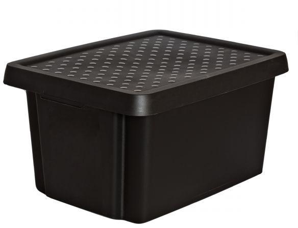Коробка для хранения Curver Essentials, с крышкой, цвет: черный, 16 л00753-101-00Коробка для хранения Curver Essentials, с крышкой, цвет: черный, 16 л
