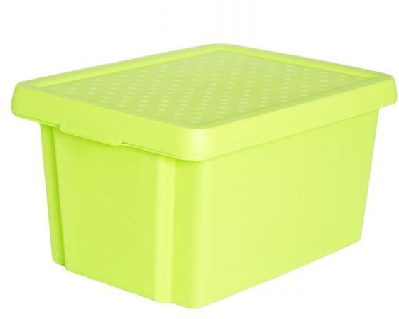 Коробка для хранения Curver Essentials, с крышкой, цвет: салатовый, 16 л00753-598-00Коробка для хранения Curver Essentials выполнен из высококачественного пластика. Она идеально подойдет для хранения вещей дома, на даче или в гараже. Изделие оснащено крышкой и двумя эргономичными ручками для переноски. Контейнер Essentials очень вместителен и поможет вам хранить все необходимые вещи в одном месте.