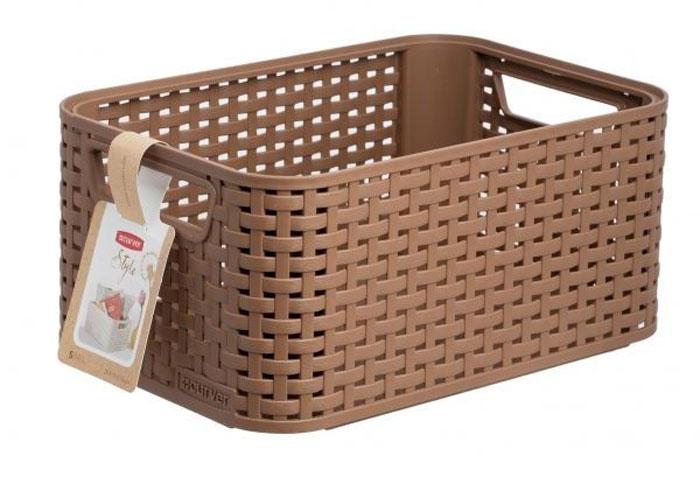 Корзина универсальная Curver Rattan Style Box, цвет: коричневый03614-213Корзина универсальная Curver Rattan Style Box, цвет: коричневый