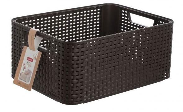 Корзина универсальная Curver Rattan Style Box, цвет: темно-коричневый. 03615-21003615-210Корзина универсальная Curver Rattan Style Box, цвет: темно-коричневый. 03615-210