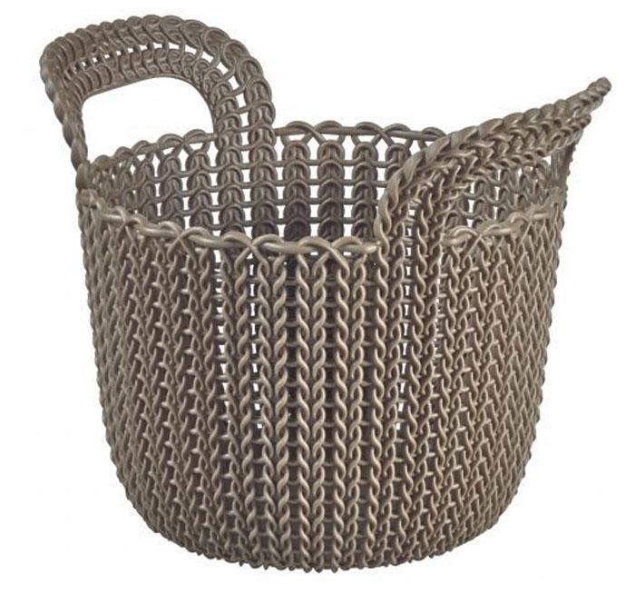 Корзина универсальная Curver Knit, круглая, цвет: темно-коричневый, 3 л03671-X59-00Универсальная корзина Curver Knit изготовлена из высококачественного пластика и дополнена перфорированными стенками и дном под плетение. Для дополнительного удобства корзина имеет удобные ручки. Такая корзина непременно пригодится в быту, в ней можно хранить кухонные принадлежности, специи, аксессуары для ванной и другие бытовые предметы. Размер корзины: 19 х 19 х 23 см.