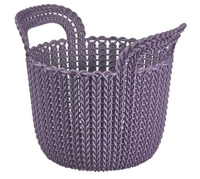 Корзина универсальная Curver Knit, круглая, цвет: фиолетовый, 3 л03671-X66-00Корзина универсальная Curver Knit, круглая, цвет: фиолетовый, 3 л