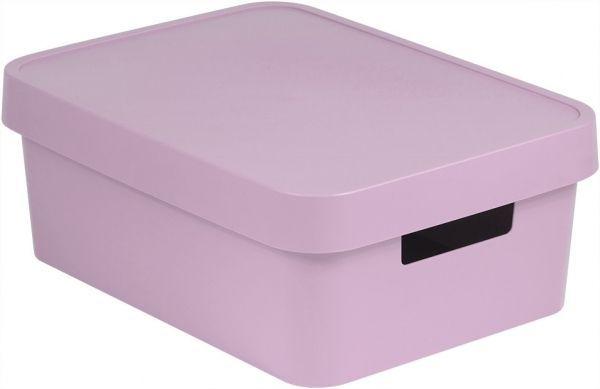 Коробка для хранения Curver Infinity, с крышкой, цвет: сиренево-розовый, 11 л04752-X51-00Коробка для хранения Curver Infinity изготовлена из высококачественного пластика. Идеально подходит для хранения мелочей для ванной и различных бытовых вещей. Изделие оснащено крышкой и удобными ручками по бокам.