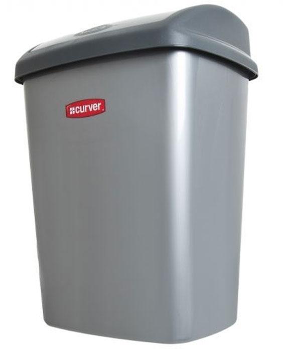 Контейнер для мусора Curver Доминик, цвет: серебристый, 25 л05322-877Контейнер для мусора Curver Доминик, цвет: серебристый, 25 л