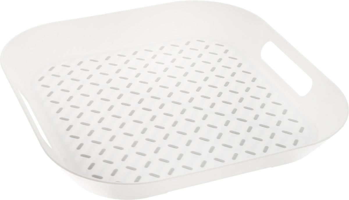 Поднос Zeller, 34 х 34 х 4,3 см26678Оригинальный поднос Zeller, изготовленный из прочного пищевого пластика, станет незаменимым предметом для сервировки стола. Изделие снабжено специальными прорезиненными вставками, которые предотвращают скольжение посуды. Основание подноса также имеет резиновые вставки. Для удобства переноски предусмотрены удобные ручки и высокие бортики. Такой поднос станет полезным и практичным приобретением для вашей кухни.