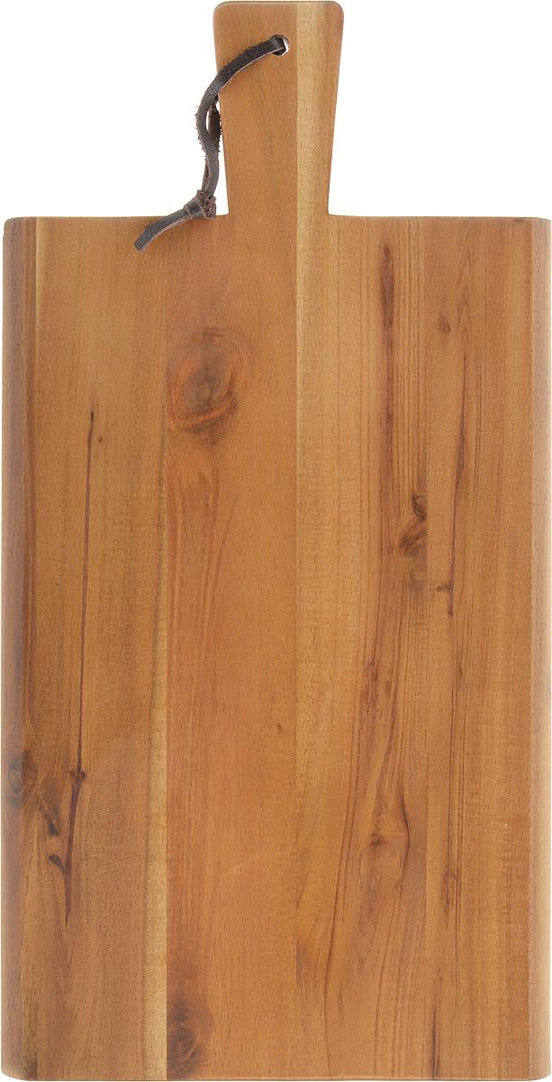 Доска разделочная Kesper, с ручкой, 35 х 18 х 1,5 см2019-1Разделочная доска Kesper выполнена из акации. Акация считается самым твердым деревом. Поэтому изделие являются прочным и долговечным, не боится воды и не впитывает запахи. Доска оснащена ручкой с кожаной петлей для более удобного использования. Функциональная и простая в использовании, разделочная доска Kesper прекрасно впишется в интерьер любой кухни и прослужит вам долгие годы. Не рекомендуется мыть в посудомоечной машине. Размер доски: 35 х 18 см. Толщина доски: 1,5 см.