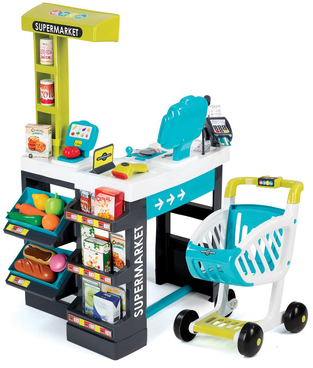 Smoby Игровой набор Супермаркет350206Игровой набор Smoby Супермаркет даст возможность ребенку научиться правильно действовать в магазине, самостоятельно осуществлять покупки, контролировать деньги и правильно вести наличный денежный расчет, оплачивать покупки банковской карточкой. Касса в этом наборе - электронная, со звуковыми эффектами. Сам супермаркет состоит из магазинной стойки, продуктовой тележки на колесиках и разных аксессуаров. Стойка оснащена множеством полок, на которых маленький продавец сможет разместить игрушечный продукты и другой товар. На стойке также имеется специальное отделение, куда ребенок сможет сложить игрушечные деньги. В набор входят прилавок супермаркета, касса, муляжи продуктов для продажи, деньги для покупок (бумажные и мелочь), банковская карта, аксессуары и тележка. Продуктовая тележка оснащена широкими колесами и удобной ручкой. В нее можно сложить покупки или использовать для хранения маленьких игрушек. Приглашайте друзей, выдавайте им игрушечные деньги и начинайте...