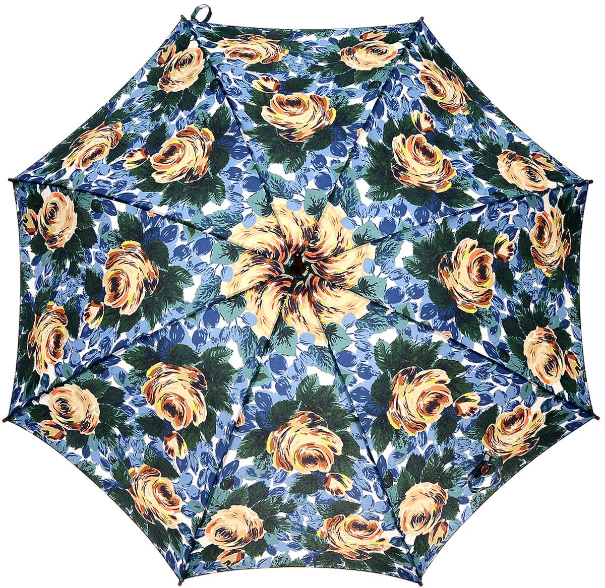 Зонт-трость женский Cath Kidston Kensington, механический, цвет: мультиколор. L541-3061L541-3061 OxfordRoseDeepBlueЯркий механический зонт-трость Cath Kidston Kensington даже в ненастную погоду позволит вам оставаться стильной и элегантной. Каркас зонта включает 8 спиц из фибергласса с деревянным наконечниками. Стержень изготовлен из дерева. Купол зонта выполнен из износостойкого полиэстера и оформлен красочным принтом в виде роз в листьях. Изделие дополнено удобной рукояткой из гладкого дерева. Зонт механического сложения: купол открывается и закрывается вручную до характерного щелчка. Модель дополнительно застегивается с помощью двух хлястиков: на кнопку и липучку с декоративной пуговицей. Такой зонт не только надежно защитит вас от дождя, но и станет стильным аксессуаром, который идеально подчеркнет ваш неповторимый образ.
