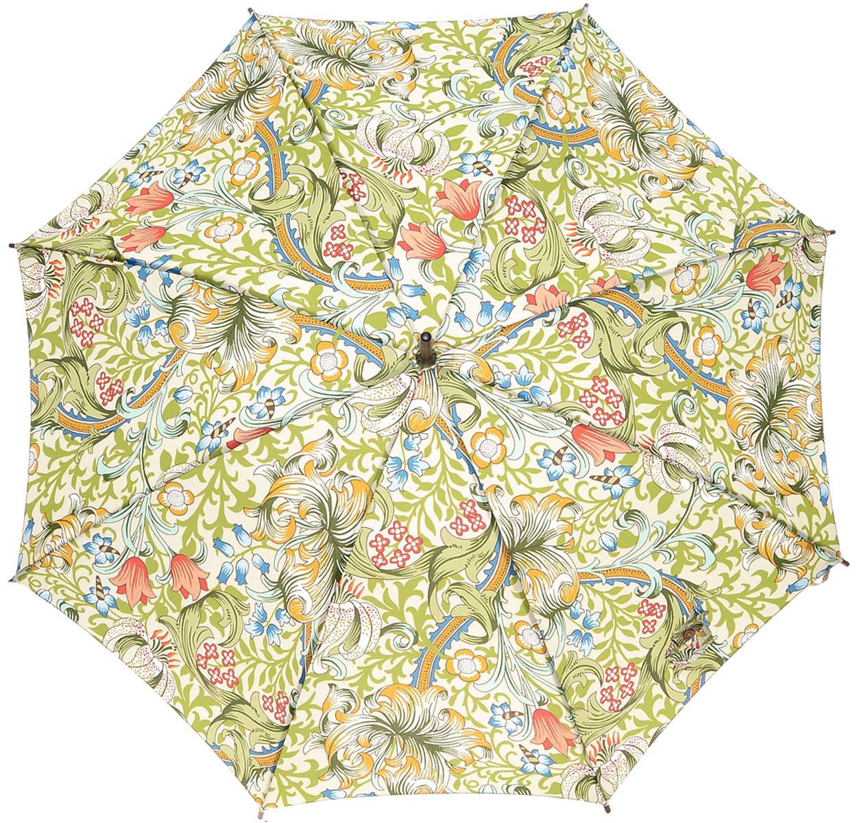 Зонт-трость женский Golden Lily, механический, цвет: зеленыйL715 3S1605Стильный механический зонт-трость Golden Lily даже в ненастную погоду позволит вам оставаться элегантной. Облегченный каркас зонта выполнен из 8 спиц из стали, стержень изготовлен из дерева. Купол зонта выполнен из прочного полиэстера и оформлен растительным принтом. Рукоятка закругленной формы разработана с учетом требований эргономики и выполнена из дерева. Зонт имеет механический тип сложения: купол открывается и закрывается вручную до характерного щелчка. Такой зонт не только надежно защитит вас от дождя, но и станет стильным аксессуаром.