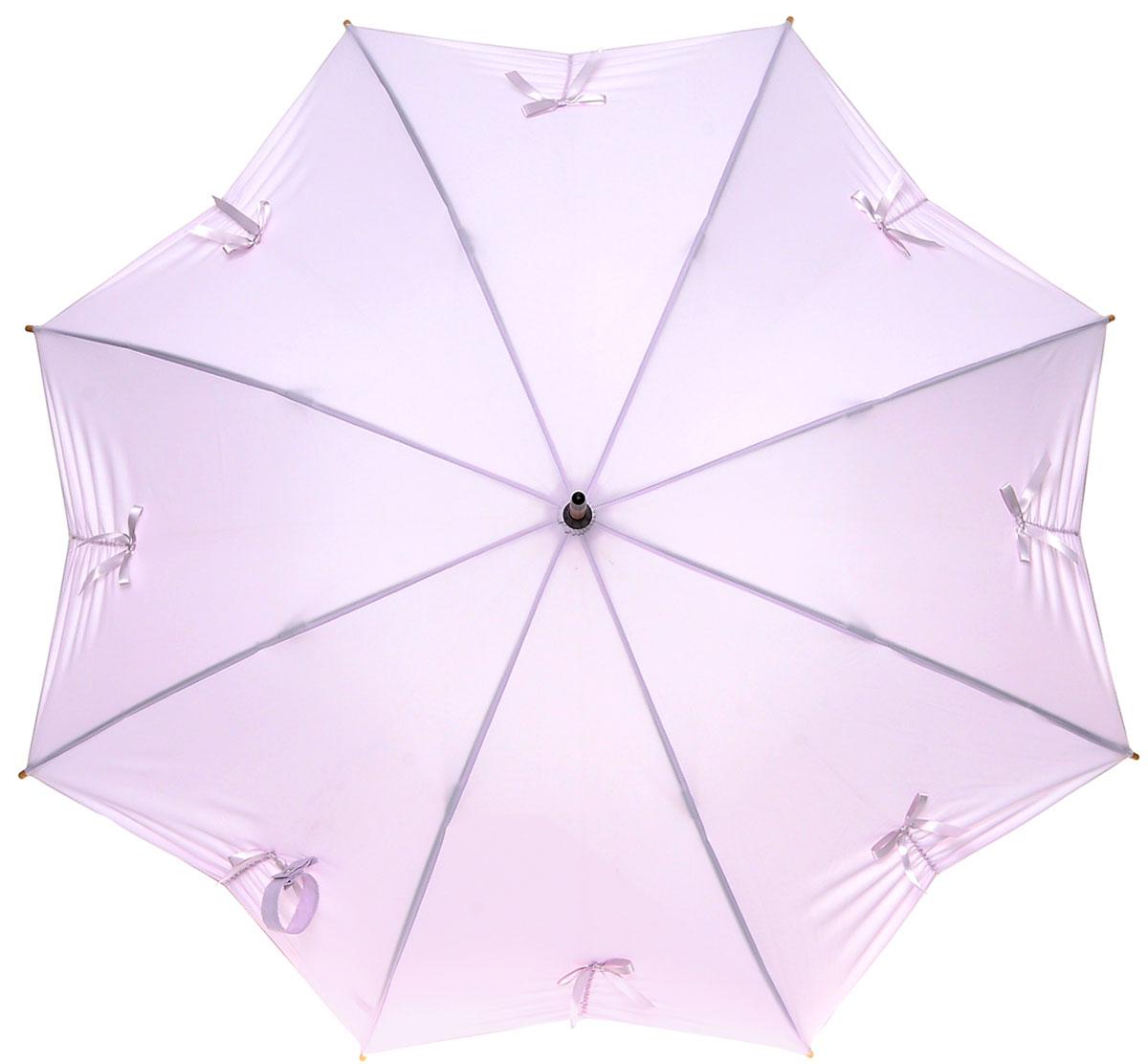 Зонт-трость женский Fulton Kensington, механический, цвет: сиреневый. L776-3211L776-3211 PalePinkМодный механический зонт-трость Fulton Kensington. Каркас зонта состоит из 8 спиц из фибергласса и деревянного стержня. Купол зонта выполнен из прочного полиэстера и украшен аппликацией в виде бантиков. Изделие оснащено удобной рукояткой из дерева. Зонт механического сложения: купол открывается и закрывается вручную до характерного щелчка. Модель закрывается при помощи двух хлястиков с кнопками. Зонт-трость даже в ненастную погоду позволит вам оставаться стильной и элегантной. Такой зонт не только надежно защитит вас от дождя, но и станет стильным аксессуаром, который идеально подчеркнет ваш неповторимый образ.