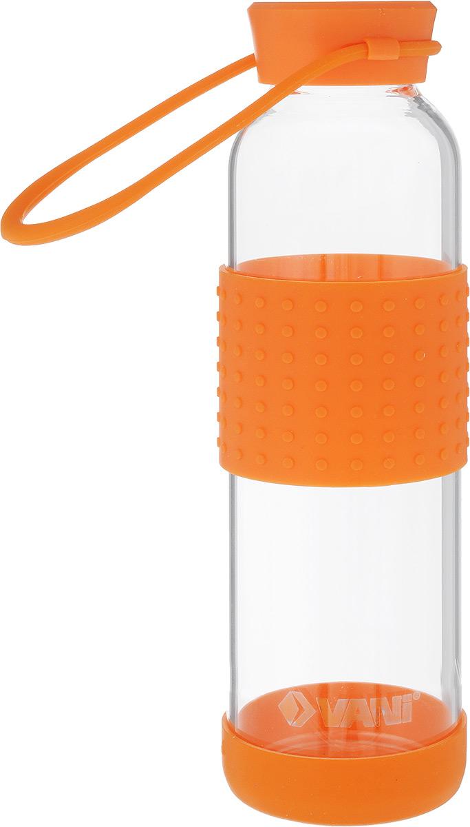 Бутылка для воды VANI, 500 млV30Многоразовая бутылка для воды VANI пригодится в спортзале, на прогулке, дома и на даче. Бутылка выполнена из высококачественного упрочненного стекла, она способна выдержать температуру от -20 до 100°С. Имеет силиконовую ручку для переноски. Крышка изготовлена из пищевого пластика, нержавеющей стали и силиконового кольца. Герметично закрывается. Силиконовые вставки на стекле предохраняют от ожогов и скольжения в руках. Диаметр горлышка: 4 см. Высота бутылки (с учетом крышки): 23 см. Диаметр дна: 6,5 см.