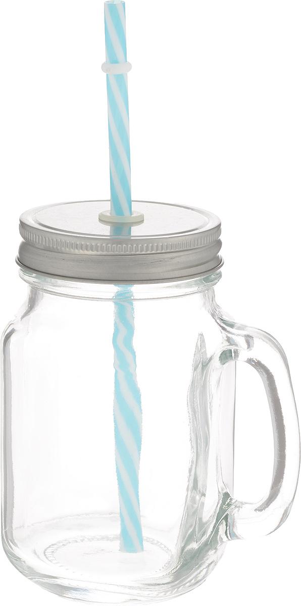 Емкость для напитков Zeller, с трубочкой, 470 мл19726Емкость для напитков Zeller выполнена из высококачественного стекла. Изделие снабжено металлической крышкой с отверстием для трубочки, а также удобной ручкой. Эта емкость станет идеальным вариантом для подачи лимонадов, ароматных свежевыжатых соков и вкусных смузи.