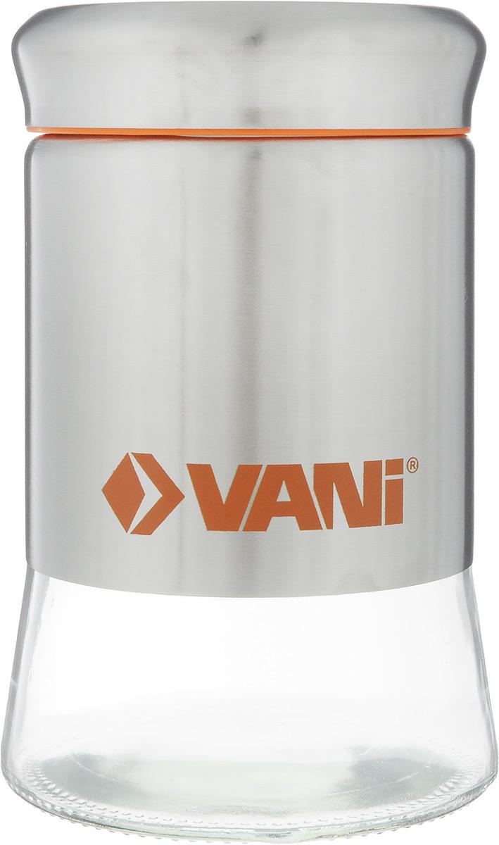 Банка для хранения сыпучих продуктов VANI, 600 млV9005Банка VANI изготовлена из стекла с обрамлением из нержавеющей стали. Емкость снабжена крышкой из пластика и нержавеющей стали с силиконовым уплотнителем, которая плотно закрывается, дольше сохраняя аромат и свежесть содержимого. Банка подходит для хранения сыпучих продуктов: круп, специй, сахара, соли. Такая банка станет полезным приобретением и пригодится на любой кухне. Она сохраняет прекрасный внешний вид даже после многолетнего использования. Во избежание повреждений поверхности не используйте для мытья металлические губки, абразивные материалы, хлор и кислотосодержащие очистители. Диаметр (по верхнему краю): 7,5 см. Высота (без учета крышки): 14,5 см.