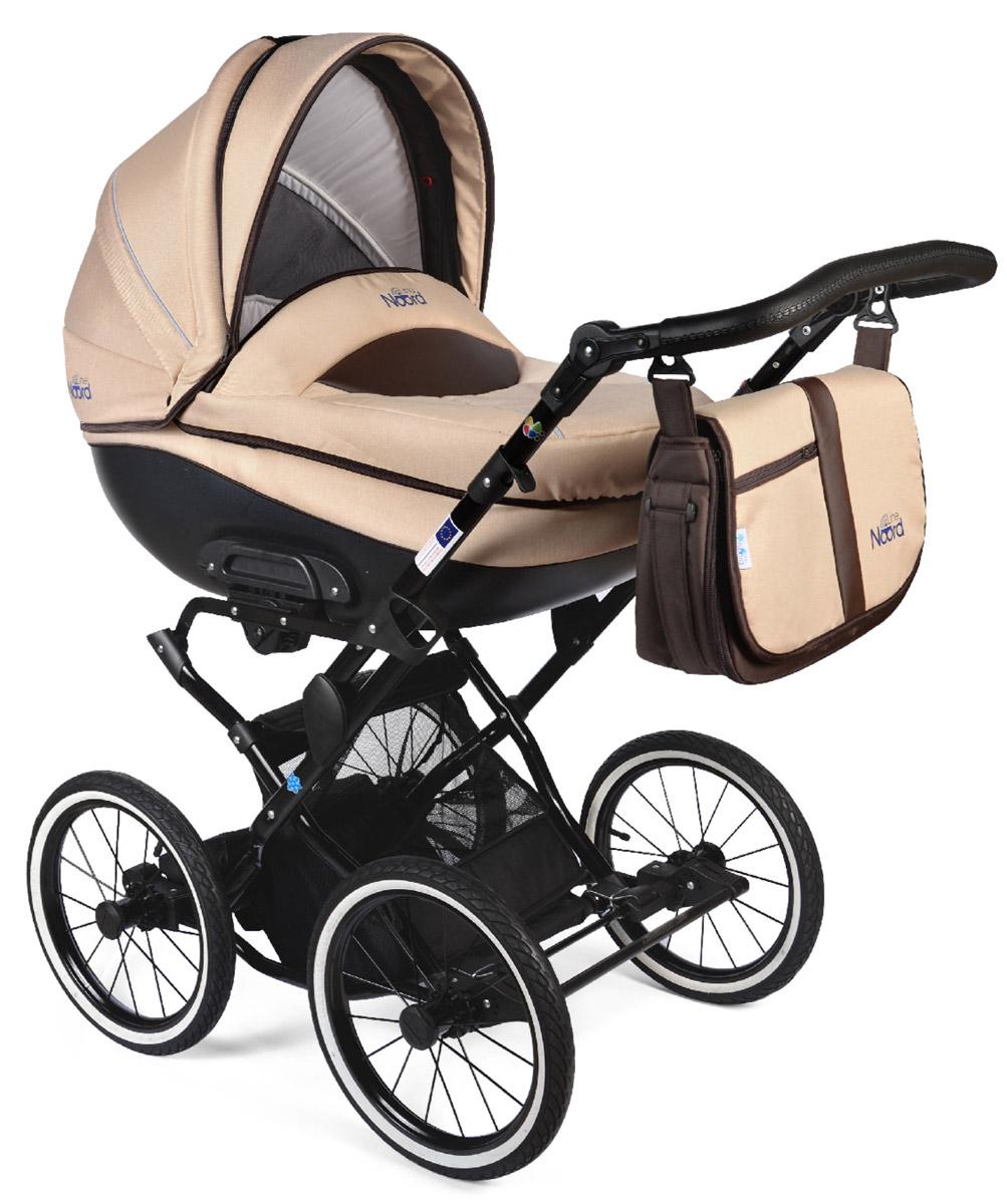 Noordline Коляска универсальная 2 в 1 Оlivia Classic цвет бежевыйNL-OL2-CL-BGМодель коляски на классическом шасси с ременной амортизайцией- самой мягкой на сегодняшний день. Ремни позволяют раскачивать коляску в разных направлениях (вдоль и поперёк) и быстро укачивать малыша, что особенно важно для новорожденных. Этот всесезонный вездеход рекомендуется детям с рождения до 3 лет. Большие надувные колеса легко снимаются, как и люлька с сиденьем, если необходимо сложить шасси для дальнейшей транспортировки в багажнике либо в руке одного из родителей. Преимущества данной модели перед колясками другого производителя: Надувные колеса-вездеходы, не требующие постоянной подкачки. Достаточно одного-двух раз в год проводить подкачку с помощью подручного насоса, включая велосипедный. Крепкая металлическая рама устойчива к химическим реагентам, которыми посыпаются городские улицы. Обивка люльки и сиденья материалом, который легко чистится. Текстиль внутри крепится с помощью кнопок и может быть снят при первой необходимости. Современный внешний...