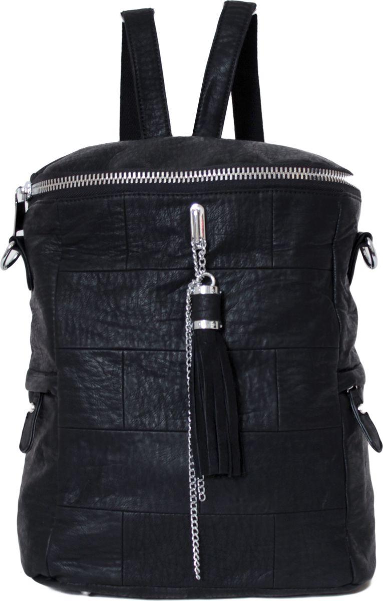 Рюкзак женский Flioraj, цвет: черный. 00052649-1700052649-17Рюкзак закрывается на молнию, имеет два боковых кармана, внутри одно отделение, один карман на молнии и два открытых кармана.