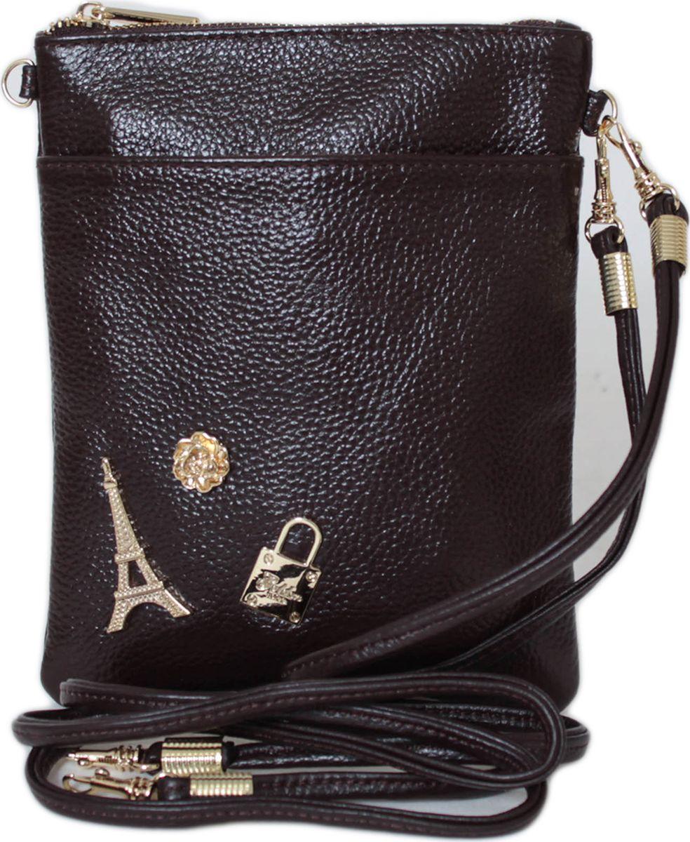 Кошелек женский Flioraj, цвет: коричневый. 00053210-1700053210-17Закрывается на молнию. Внутри одно отделение, один карман на молнии и два открытых, снаружи карман на молнии и один открытый. В комплекте короткий ремешок и длинный.