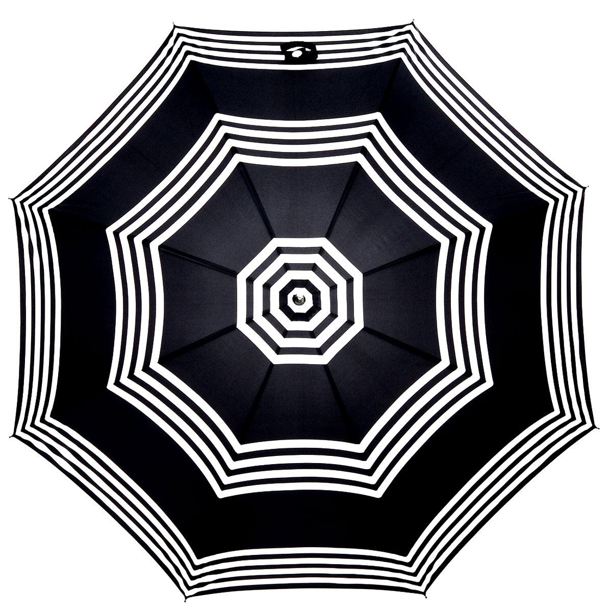 Зонт-трость женский Lulu Guinness Eliza, механический, цвет: черный, белый. L720-2784L720-2784 StripesМодный механический зонт-трость Lulu Guinness Eliza даже в ненастную погоду позволит вам оставаться стильной и элегантной. Каркас зонта включает 8 спиц из фибергласса. Стержень изготовлен из стали. Купол зонта выполнен из прочного полиэстера и оформлен принтом в виде полосок. Изделие дополнено удобной рукояткой из пластика с металлическим элементом. Зонт механического сложения: купол открывается и закрывается вручную до характерного щелчка. Модель застегивается с помощью хлястика на кнопку. Такой зонт не только надежно защитит вас от дождя, но и станет стильным аксессуаром, который идеально подчеркнет ваш неповторимый образ.