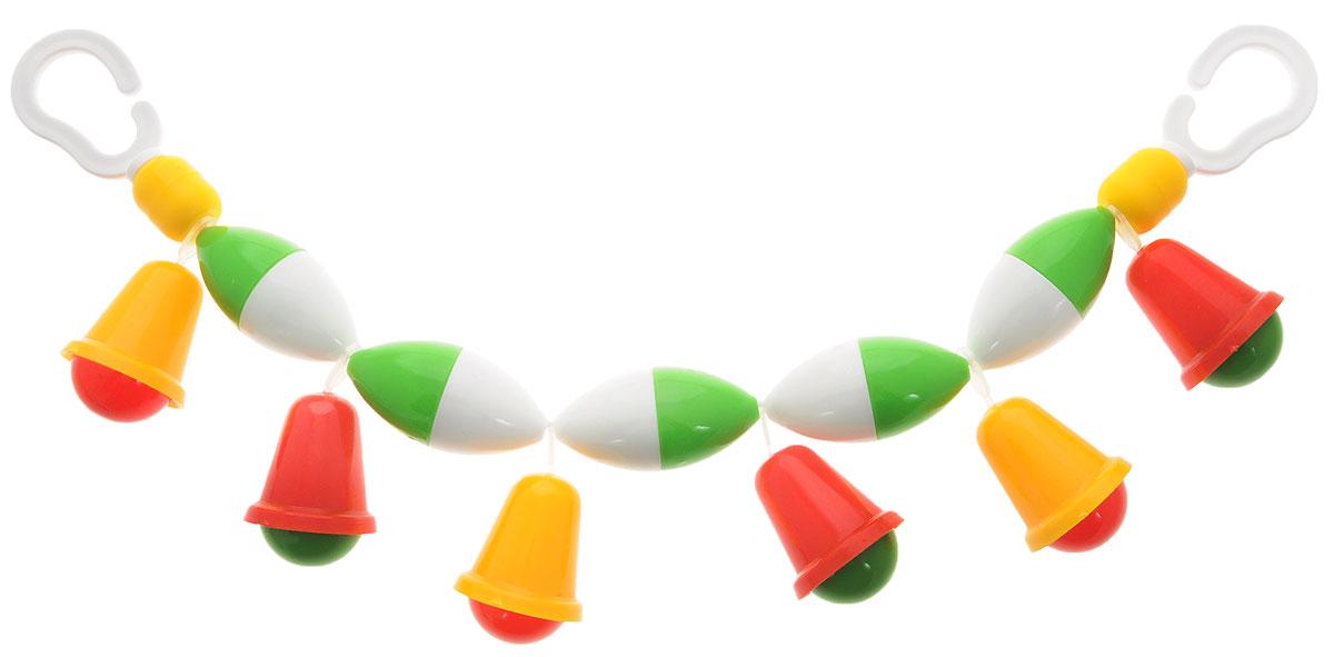 Аэлита Погремушка-подвеска на коляску Подвеска с колокольчиками2С282Погремушка-подвеска на коляску Подвеска с колокольчиками на резинке не оставит вашего малыша равнодушным и не позволит ему скучать! Подвеска представляет собой яркие пластиковые элементы с цветными колокольчиками. Элементы при тряске забавно гремят. На концах резинки расположены пластиковые кольца, при помощи которых подвеску можно закрепить на коляске. Погремушка-подвеска поможет вашему малышу познакомиться с основными цветами и развить мелкую моторику рук и координацию движений.