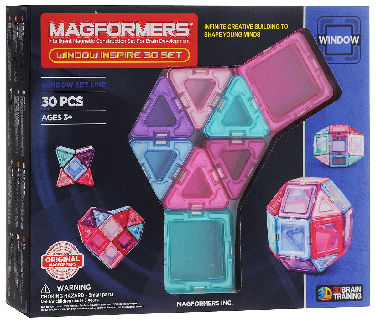 Magformers Магнитный конструктор Window Inspire Set 30714004Магнитный конструктор Magformers Window Inspire Set 30 - это специальное издание набора Magformers Window 30 в мягких пастельных цветах. Нежные оттенки розового, фиолетового и голубого особенно придутся по душе девочкам. Набор Window Inspire Set 30 прекрасно подойдет тем, кто только начинает знакомство с магнитными конструкторами Магформерс. В его состав входят 30 элементов. С этими базовыми деталями ребенок быстро освоит построение предметов на плоскости, а затем с легкостью перейдет к конструированию трехмерных моделей. Каждая деталь содержит окошко из цветного прозрачного пластика, что открывает новые возможности для творчества. Все элементы Magformers Window Inspire Set 30 также совместимы с любыми другими наборами Магформерс, что позволяет пополнить уже имеющуюся коллекцию новыми необычными цветами и расширить варианты возможных построек. Конструкторы Магформерс - это неиссякаемый источник веселья и творчества! Множество различных по форме деталей позволяет...