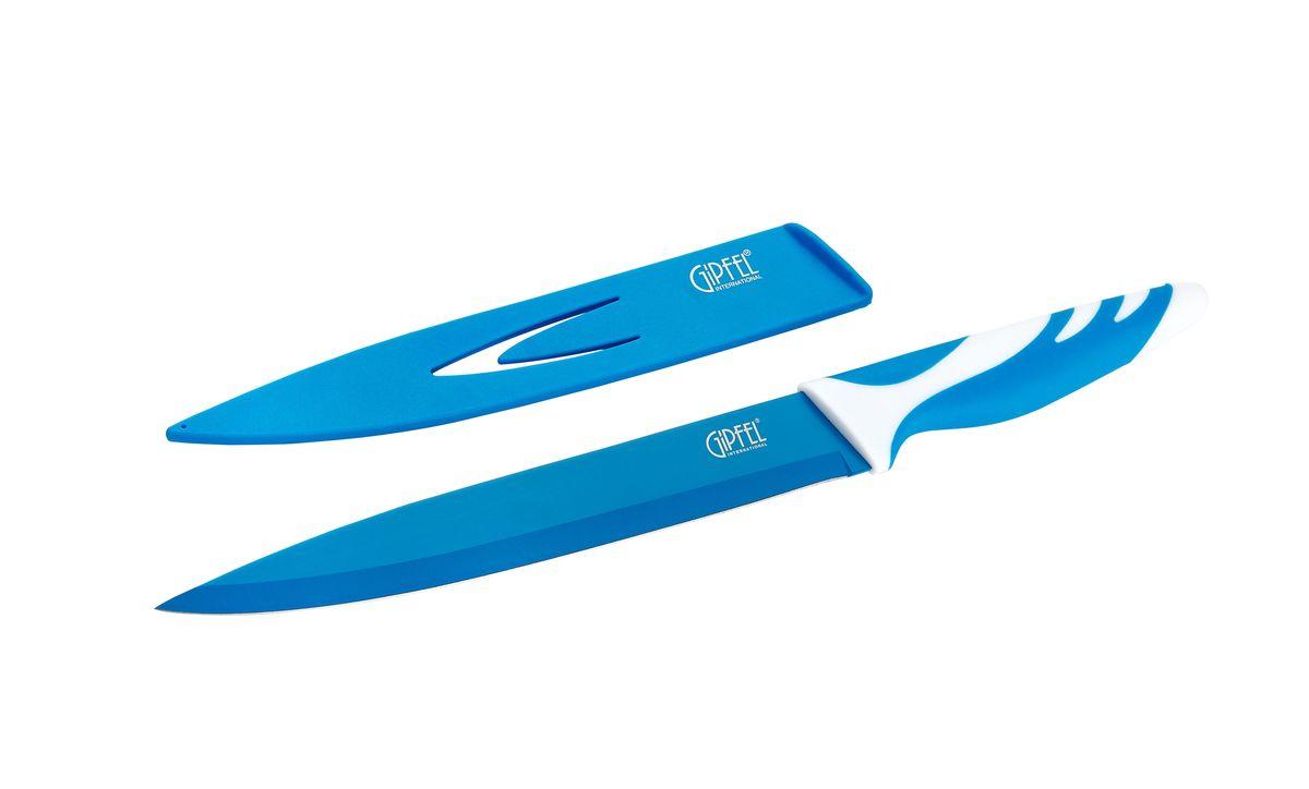 Нож для мяса Gipfel Rainbow, с чехлом, цвет: синий, длина лезвия 20 см6753Нож Gipfel Rainbow предназначен для мяса и выполнен из высокоуглеродистой нержавеющей стали (с повышенным содержанием углерода). Ножи из высокоуглеродистой нержавеющей стали относятся к ножам более высокого класса. Высокое содержание углерода способствует долгому сохранению заточки, а нержавеющая сталь обеспечивает устойчивость к коррозии и пятнообразованию. Прорезиненная ручка способствует комфортному использованию ножа. В комплект прилагается пластиковый чехол для безопасного хранения ножа. Нож Gipfel Rainbow займет достойное место среди аксессуаров на вашей кухне.