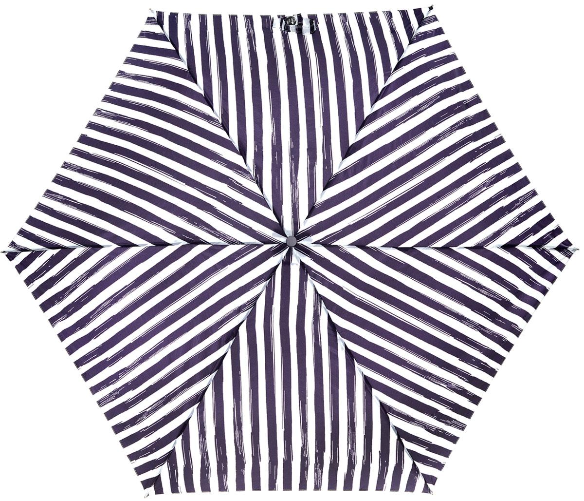 Зонт женский Lulu Guinness Superslim, механический, 3 сложения, цвет: белый, фиолетовый. L718-2786L718-2786 PainterlyStripeСтильный механический зонт Lulu Guinness Superslim в 3 сложения даже в ненастную погоду позволит вам оставаться элегантной. Облегченный каркас зонта выполнен из 6 спиц из фибергласса и алюминия, стержень также изготовлен из алюминия, удобная рукоятка - из пластика. Купол зонта выполнен из прочного полиэстера. В закрытом виде застегивается хлястиком на кнопке. Яркий оригинальный рисунок в полоску поднимет настроение в дождливый день. Зонт механического сложения: купол открывается и закрывается вручную до характерного щелчка. На рукоятке для удобства есть небольшой шнурок, позволяющий надеть зонт на руку тогда, когда это будет необходимо. К зонту прилагается чехол, который дополнительно застегивается на липучку, с небольшой нашивкой с названием бренда. Такой зонт компактно располагается в кармане, сумочке, дверке автомобиля.
