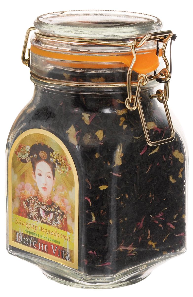 Dolche Vita Эликсир молодости элитный черный листовой чай, 160 г21528Элитный черный листовой чай Dolche Vita Эликсир молодости - цейлонский черный крупнолистовой чай с добавлением лепестков подсолнечника, василька красного, кусочков ананаса и ягод, ароматизированный натуральными маслами, в стеклянной банке с замком. Уважаемые клиенты! Обращаем ваше внимание, что полный перечень состава продукта представлен на дополнительном изображении.