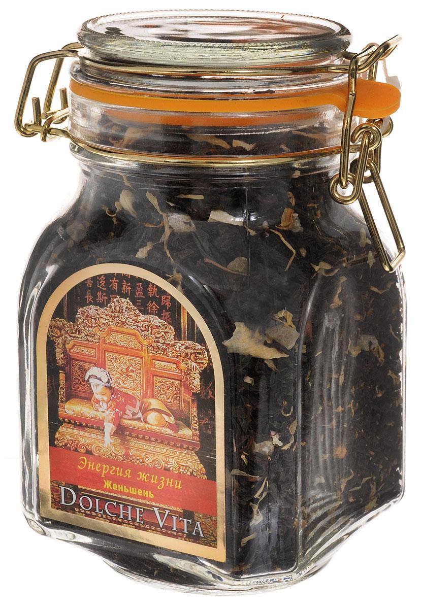 Dolche Vita Энегия жизни элитный черный листовой чай, 160 г21529Элитный черный чай Dolche Vita Энегия жизни - цейлонский крупнолистовой чай с добавлением лепестков жасмина, календулы, вереска, кусочков манго и женьшеня. Ароматизирован натуральными маслами лимона и ванили. Поставляется в стеклянной банке с замком. Уважаемые клиенты! Обращаем ваше внимание, что полный перечень состава продукта представлен на дополнительном изображении.