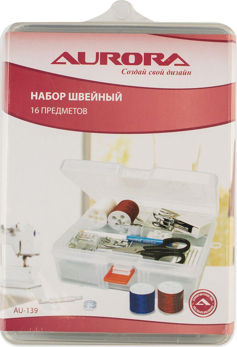 Набор швейный Aurora 16 предметовAU-139Набор швейный 16 предметов. В набор входят: 1. Ножницы для выполнения мелких работ и подрезки нитей; 2. Карандаш 2-х цветный для нанесения разметки на ткань; 3. Нитевдеватель для швейных машин и оверлоков; 4. Иглы для швейной машины 5шт./упаковка: стандартные №№ 70-100; 5. Набор шпулей для швейной машины, 5шт./упаковка; 6. Нитка швейная, 200 м, цвет черный; 7. Нитка швейная, 200 м, цвет белый; 8. Нитка швейная, 200 м, цвет коричневый; 9. Нитка швейная, 200 м, цвет синий; 10. Нитка швейная, 200 м, цвет красный; 11. Лапка пластиковая для вшивания потайной молнии; 12. Лапка шагающая, 7мм; 13. Лапка тефлоновая; 14. Лапка оверлочная; 15. Лапка с линейкой; 16. Лапка для трикотажа.