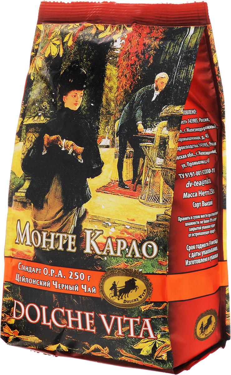 Dolche Vita Монте Карло черный листовой чай, 250 г21305Цейлонский крупнолистовой черный байховый чай Dolche Vita Монте Карло. Стандарт O.P.A.