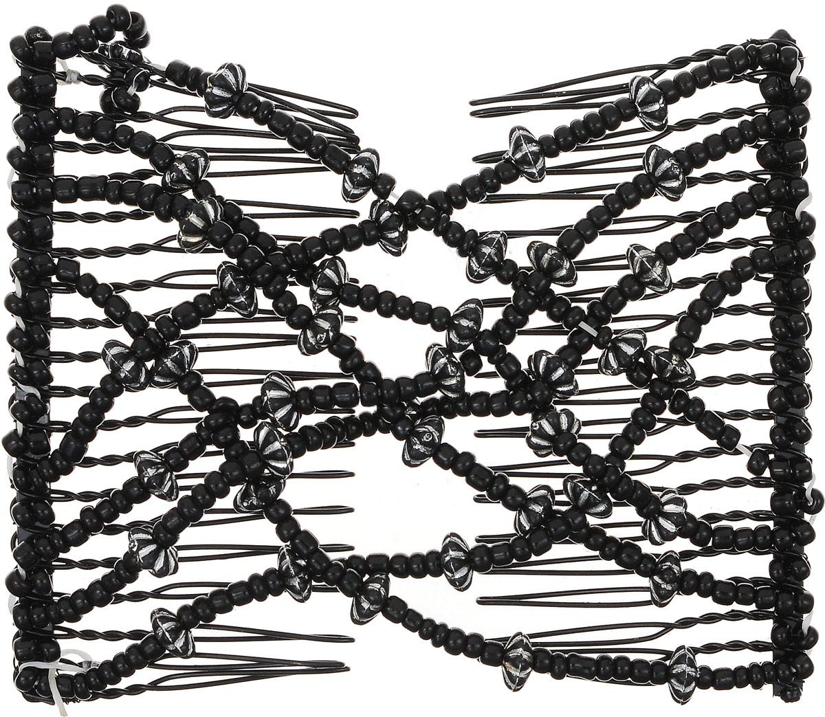 EZ-Combs Заколка Изи-Комбс, одинарная, цвет: черный. ЗИО_цветочки 2ЗИО_цветочки 2Удобная и практичная EZ-Combs подходит для любого типа волос: тонких, жестких, вьющихся или прямых, и не наносит им никакого вреда. Заколка не мешает движениям головы и не создает дискомфорта, когда вы отдыхаете или управляете автомобилем. Каждый гребень имеет по 20 зубьев для надежной фиксации заколки на волосах! И даже во время бега и интенсивных тренировок в спортзале EZ-Combs не падает; она прочно фиксирует прическу, сохраняя укладку в первозданном виде. Небольшая и легкая заколка для волос EZ-Combs поместится в любой дамской сумочке, позволяя быстро и без особых усилий создавать неповторимые прически там, где вам это удобно. Гребень прекрасно сочетается с любой одеждой: будь это классический или спортивный стиль, завершая гармоничный облик современной леди. И неважно, какой образ жизни вы ведете, если у вас есть EZ-Combs, вы всегда будете выглядеть потрясающе.
