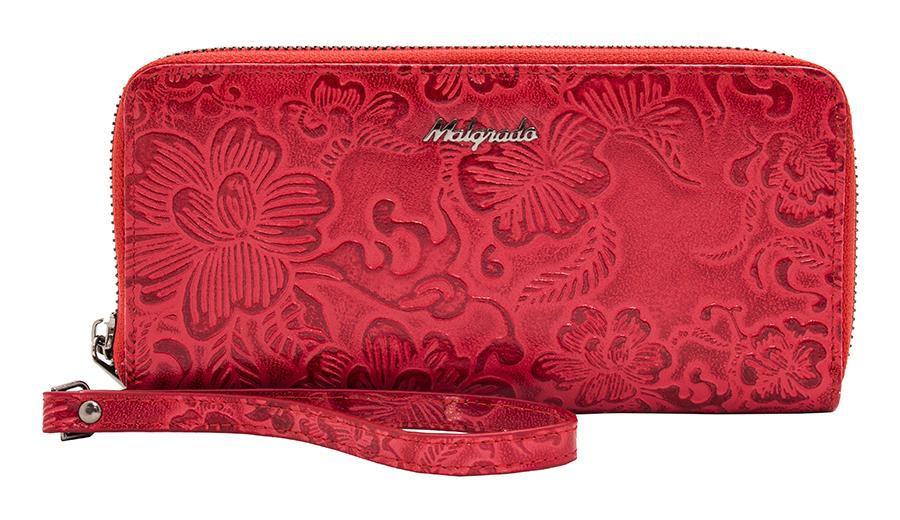 Кошелек женский Malgrado, цвет: красный. 73007-18202#73007-18202# RedЖенский кошелек Malgrado изготовлен из натуральной кожи красного цвета, оформленной тисненым цветочным рисунком. Изделие имеет два основных отделения, которые закрываются на застежки молнии. Внутри отделения для визиток находятся два потайных кармашка, прозрачное окошко для фотографии и 8 кармашков для пластиковых карт и визиток. Внутри второго отделения расположено два отдела для купюр, разделенных средником на молнии для мелочи, а также два потайных кармашка. В комплекте - отстегивающийся ремешок для запястья на замке-карабине. Такой кошелек - это невероятно функциональный аксессуар. Его можно использовать в качестве кошелька, а также вечерней сумочки. Он стильно дополнит ваш образ и станет незаменимым предметом вашего гардероба. Кошелек упакован в подарочную металлическую коробку синего цвета. Характеристики: Материал: натуральная кожа, текстиль, металл. Цвет: красный. Размер (ДхШхВ): 19,5 см х 10 см х 3,5 см. ...