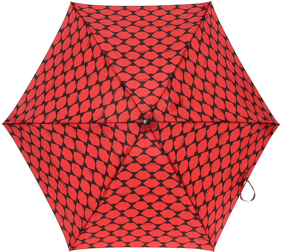 Зонт женский Lulu Guinness Tiny, механический, 5 сложений, цвет: черный, темно-красный. L717-2681L717-2681 LipsGridRedСтильный механический зонт Lulu Guinness Tiny в 5 сложений даже в ненастную погоду позволит вам оставаться элегантной. Облегченный каркас зонта выполнен из 6 спиц из фибергласса и алюминия, стержень также изготовлен из алюминия, удобная рукоятка - из пластика. Купол зонта выполнен из прочного полиэстера. В закрытом виде застегивается хлястиком на липучке. Яркий оригинальный принт в виде изображения губ поднимет настроение в дождливый день. Зонт механического сложения: купол открывается и закрывается вручную до характерного щелчка. На рукоятке для удобства есть небольшой шнурок, позволяющий надеть зонт на руку тогда, когда это будет необходимо. К зонту прилагается чехол с небольшой нашивкой с названием бренда. Такой зонт компактно располагается в кармане, сумочке, дверке автомобиля.