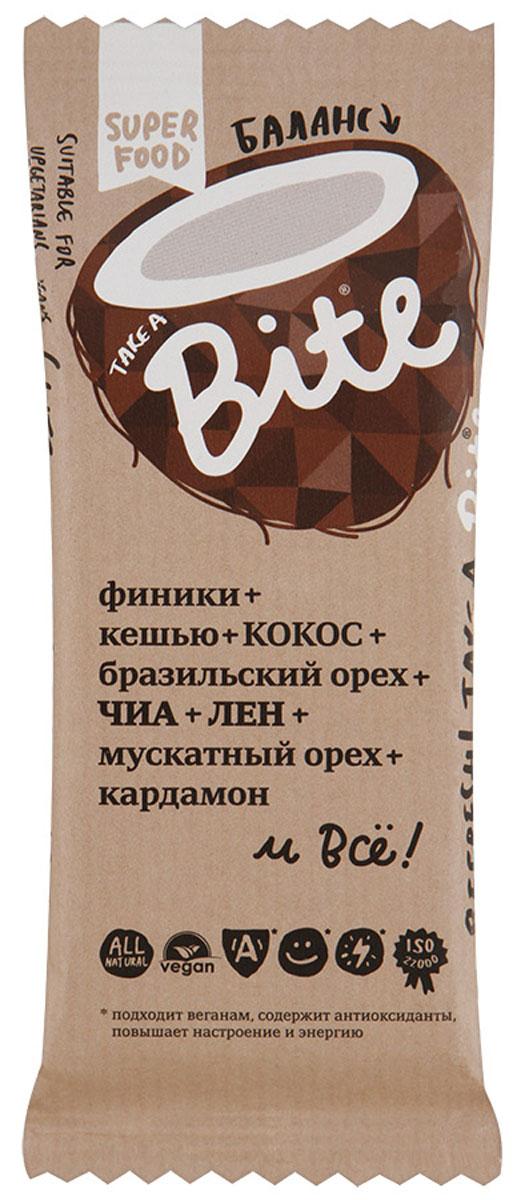 Take A Bite Баланс батончик орехово-фруктовый, 45 г4650062590399Кокос бодрит! А в сочетании с бразильским орехом нормализует уровень сахара, поддерживает баланс жидкости в организме и приводит в норму обмен веществ. Баланс, гармония и бодрость - все вместе в батончике Take A Bite Баланс! Уважаемые клиенты! Обращаем ваше внимание, что полный перечень состава продукта представлен на дополнительном изображении.