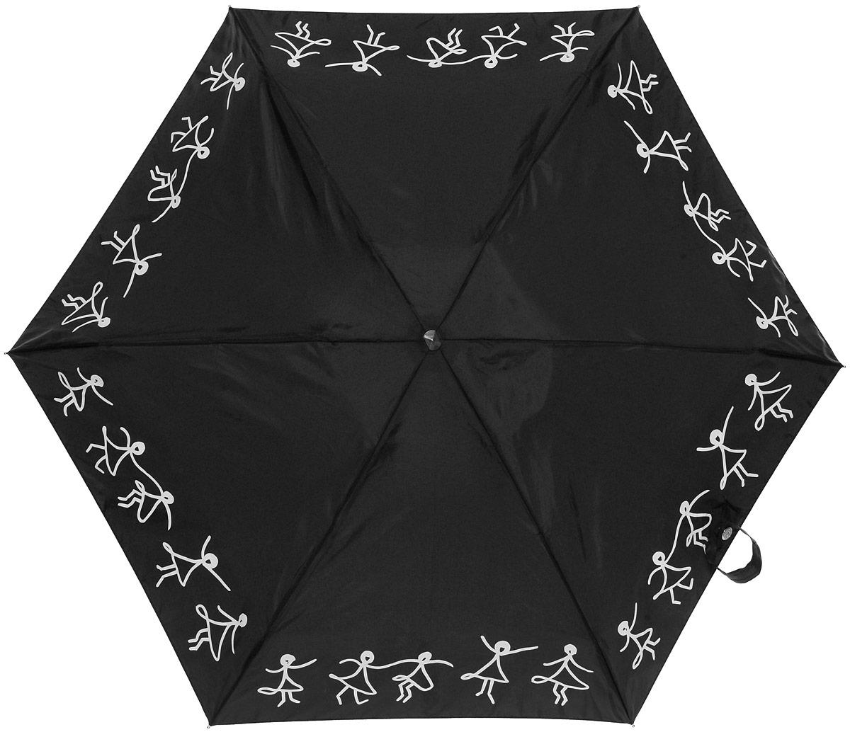 Зонт женский Lulu Guinness Tiny, механический, 5 сложений, цвет: черный, белый. L717-2956L717-2956 DancingGirlsСтильный механический зонт Lulu Guinness Tiny в 5 сложений даже в ненастную погоду позволит вам оставаться элегантной. Облегченный каркас зонта выполнен из 6 спиц из фибергласса и алюминия, стержень также изготовлен из алюминия, удобная рукоятка - из пластика. Купол зонта выполнен из прочного полиэстера и оформлен танцующими человечками. В закрытом виде застегивается хлястиком на кнопку. Зонт механического сложения: купол открывается и закрывается вручную до характерного щелчка. На рукоятке для удобства есть небольшой шнурок, позволяющий при необходимости надеть зонт на руку. К зонту прилагается чехол, оформленный нашивкой с названием бренда. Такой зонт компактно располагается в кармане, сумочке, дверке автомобиля.