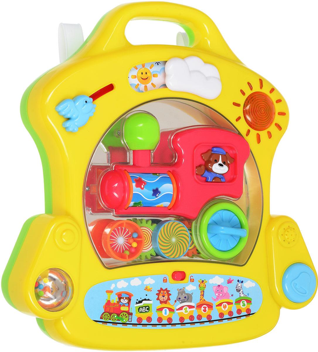 Playgo Развивающий игровой центр для самых маленькихPlay 2232Развивающий игровой центр Playgo, выполненный из безопасного пластика понравится даже самым маленьким детишкам. Центр не оставит вашего малыша равнодушным, а яркая расцветка настроит его на положительные эмоции. Игрушка выполнена в виде панели, содержащей различные развивающие элементы, световые и звуковые эффекты. На самом верху панели имеется окошко день-ночь, птичка, которую можно передвигать и светящееся солнышко. Внизу расположена кнопка включения звука и прозрачный крутящийся шарик с гремящими элементами внутри. В центре панели на зеркальной поверхности расположен паровозик с подвижными элементами. При включении специальной кнопки, воспроизводится успокаивающая мелодия, колеса паровозика начинают крутиться. Игровой центр дополнен удобной ручкой для комфортной переноски. Играть с панелью можно положив её на поверхность или подвесив на детскую кроватку с помощью специальных креплений. Это продуманная, прочная, устойчивая и надежная конструкция, совершенно...