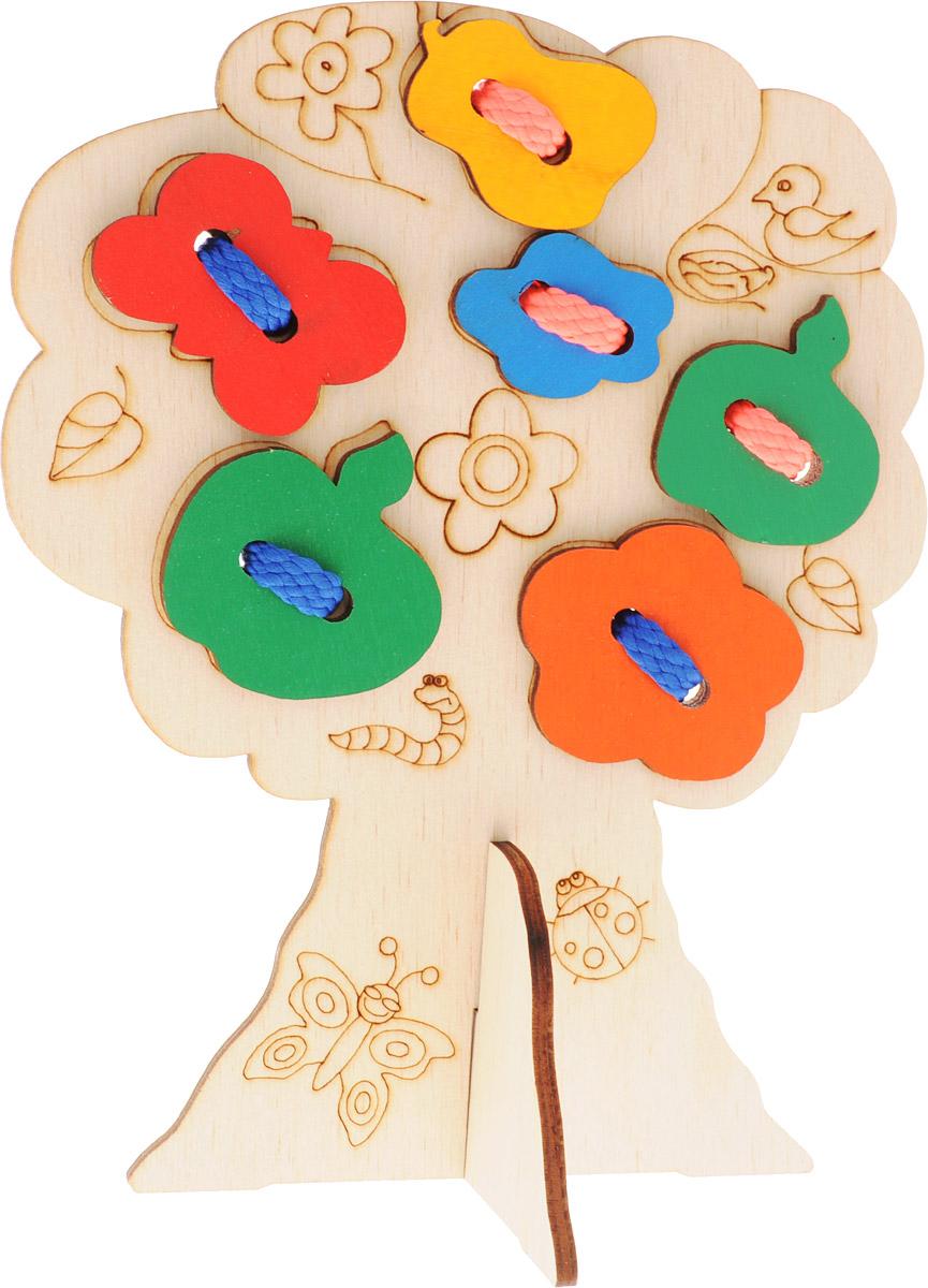 Мастер Вуд Игра-шнуровка ДеревоДШ2Игра-шнуровка Мастер Вуд Дерево - отличная обучающая и развивающая игрушка, которая очень понравится вашему малышу. Ребенок пришнуровывает на дерево различные фигурки (яблока, груши), и таким образом создает свое уникальное деревце, именно так, как сам захочет. Игрушка выполнена из дерева лиственных пород, абсолютно безопасна для здоровья малыша. Игрушка-шнуровка развивает воображение, пространственное мышление, координацию движений, ловкость, положительно влияет на эмоциональное состояние ребенка и его настроение.