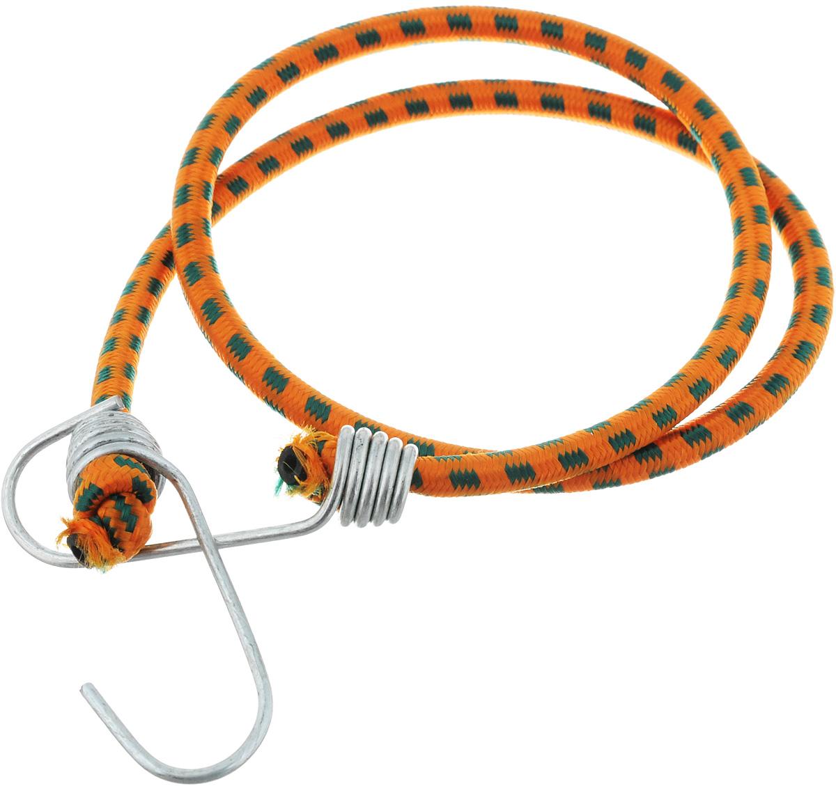 Резинка багажная МастерПроф, с крючками, цвет: оранжевый, изумрудный, 0,6 х 80 см. АС.020021АС.020021_оранжевый/изумрудныйБагажная резинка МастерПроф, выполненная из синтетического каучука, оснащена специальными металлическими крючками, которые обеспечивают прочное крепление и не допускают смещения груза во время его перевозки. Изделие применяется для закрепления предметов к багажнику. Такая резинка позволит зафиксировать как небольшой груз, так и довольно габаритный. Материал: синтетический каучук. Температура использования: -15°C до +50°C. Безопасное удлинение: 60%. Диаметр резинки: 0,6 см. Длина резинки: 80 см.