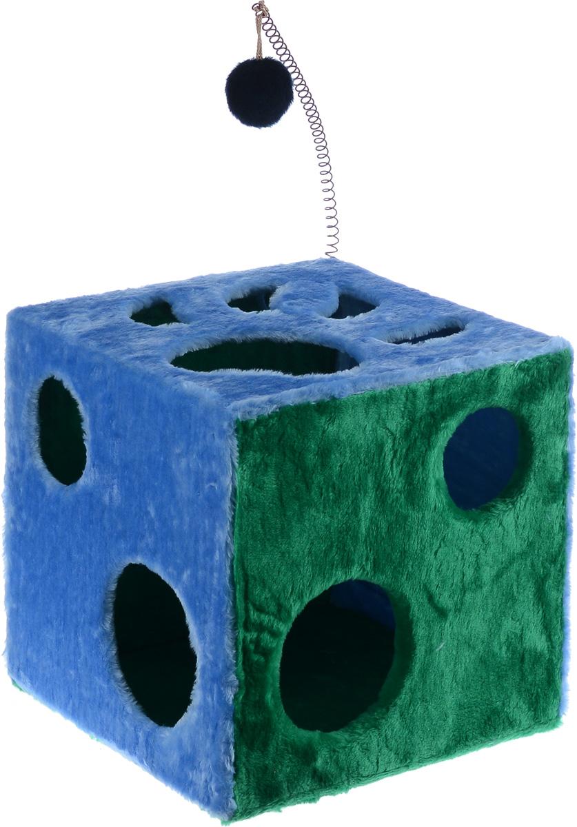 Домик для кошек ЗооМарк Кубик с лапкой, с игрушкой, цвет: голубой, зеленый, 42 х 42 х 42 см104_голубой, зеленыйДомик ЗооМарк Кубик с лапкой непременно станет любимым местом отдыха вашего домашнего животного. Он изготовлен из высококачественного дерева и обтянут искусственным мехом. Домик оформлен крупными отверстиями в виде лапы животного и кружков. Оригинальный домик для животных - отличное место, чтобы спрятаться. Также там можно хранить свои охотничьи трофеи. Сверху расположена игрушка на пружине.