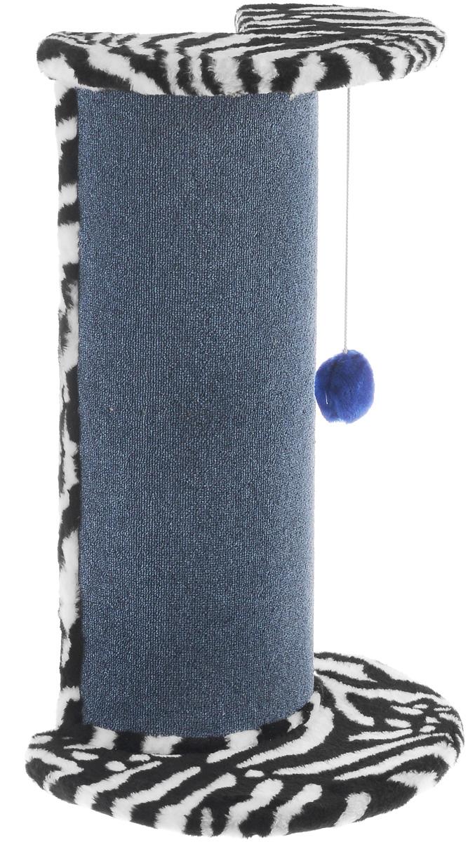 Когтеточка ЗооМарк, угловая, цвет: мех зебра, ковролин синий, 50 х 35 х 79 см126_мех зебра, ковролин синийУгловая когтеточка ЗооМарк поможет сохранить мебель и ковры в доме от когтей вашего любимца, стремящегося удовлетворить свою естественную потребность точить когти. Когтеточка изготовлена из дерева, искусственного меха и ковролина. Товар продуман в мельчайших деталях и, несомненно, понравится вашей кошке. Сверху расположена игрушка, которая привлечет питомца. Всем кошкам необходимо стачивать когти. Когтеточка - один из самых необходимых аксессуаров для кошки. Для приучения к когтеточке можно натереть ее сухой валерьянкой или кошачьей мятой. Когтеточка поможет вашему любимцу стачивать когти и при этом не портить вашу мебель.