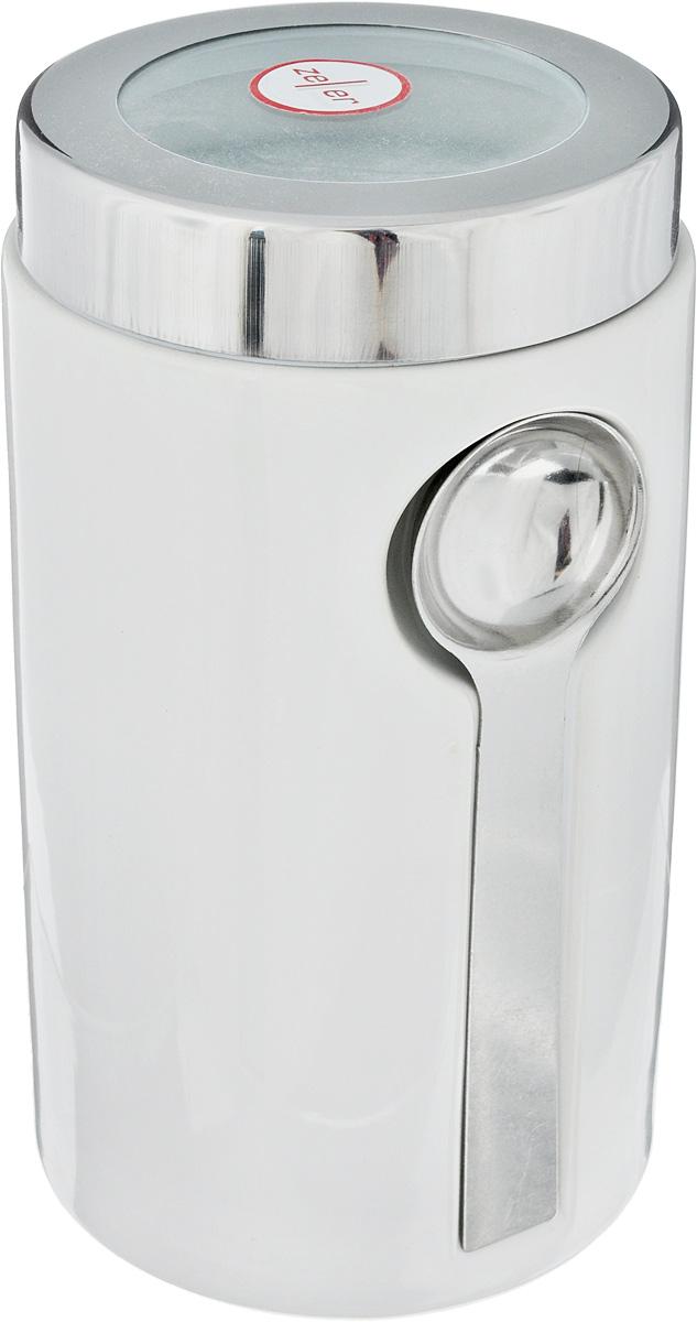 Банка для сыпучих продуктов Zeller, с ложкой, цвет: серый, белый, 900 мл19800_белый, серыйБанка Zeller изготовлена из высококачественной керамики. Емкость снабжена крышкой из пластика и металла, которая плотно закрывается, дольше сохраняя аромат и свежесть содержимого. Изделие оснащено металлической ложкой, которая крепится к банке с помощью магнитов. Банка подходит для хранения сыпучих продуктов: круп, специй, сахара, соли. Она станет полезным приобретением и пригодится на любой кухне. Диаметр по верхнему краю: 9 см. Высота (с учетом крышки): 19 см. Длина ложки: 14 см.