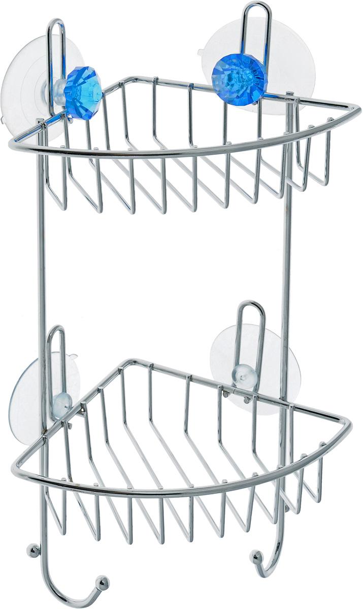 Полка для ванной Top Star Kristall, угловая, двухъярусная, на присосках, цвет: голубой, стальной, 14 х 19 х 34 см280884_голубойУгловая полка для ванной Top Star Kristall изготовлена из стали с качественным хромированным покрытием, которое на долго защитит изделие от ржавчины в условиях высокой влажности в ванной комнате. Изделие имеет два яруса и крепится к стене с помощью четырех присосок. Снизу расположены два крючка для полотенец. Классический дизайн и оптимальная вместимость подойдет для любого интерьера ванной комнаты или кухни. Размер полки: 14 х 19 х 34 см.