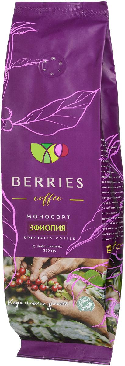 Berries Coffee Эфиопия моносорт кофе в зернах, 250 гЦБ115663У этого кофе цветочный аромат, во вкусе можно уловить оттенки специй. Он сладкий, с плотной шелковистой консистенцией и послевкусием горького шоколада.