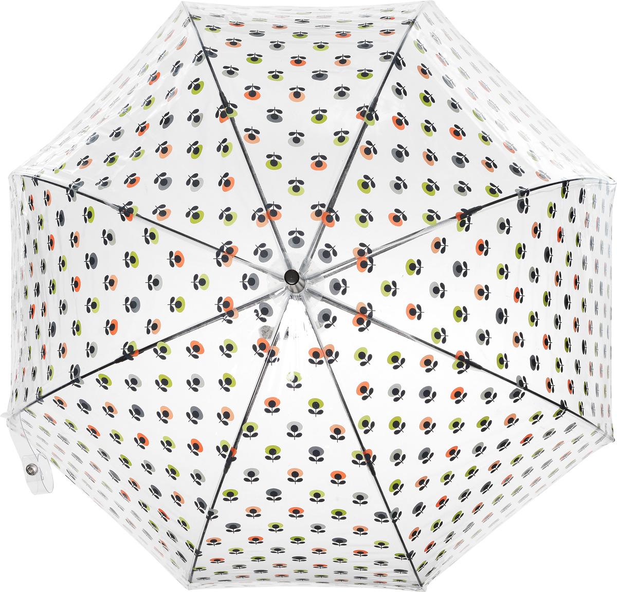 Зонт-трость женский Orla Kiely Birdcage, механический, цвет: прозрачный, мультиколор. L746-3201L746-3201 MiniMultiFlowerOvalНеобычный механический зонт-трость Orla Kiely Birdcage даже в ненастную погоду позволит вам оставаться модной и элегантной. Каркас зонта включает 8 спиц из фибергласса с пластиковыми наконечниками. Стержень изготовлен из стали. Купол зонта выполнен из высококачественного прозрачного ПВХ и оформлен принтом в виде цветочков. Изделие дополнено удобной пластиковой рукояткой, стилизованной под дерево. Зонт механического сложения: купол открывается и закрывается вручную до характерного щелчка. Модель дополнительно застегивается с помощью хлястика на кнопку. Такой зонт не только надежно защитит вас от дождя, но и станет стильным аксессуаром, который идеально подчеркнет ваш неповторимый образ.