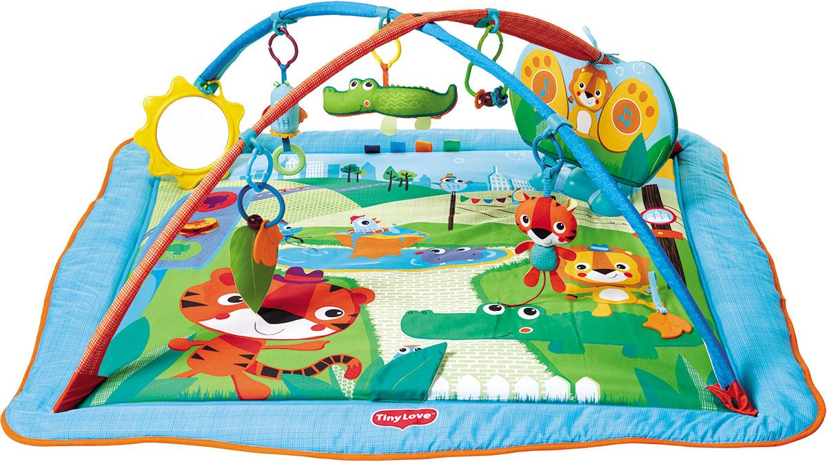 Tiny Love Развивающий коврик Сафари1204506830Интерактивный макси коврик. Все игрушки мягкие! •Раскладывающиеся бортики; •Интерактивный панель (реагирует на нажатия) •8 мелодий общей продолжительностью 10 минут; •5 развивающих игрушек •Безопасное зеркало Все игрушки свободно передвигаются на дугах. Также их можно снять с коврика и использовать как отдельные подвески или игрушки. Благодаря гибким дугам коврик легко собирается. Коврик можно стирать в стиральной машине.